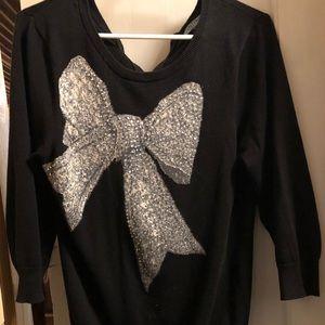 Rhinestone bow sweater